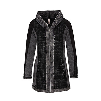 tredy Fashion Onlineshop | Sweat Jacke mit Karos, schwarz anthra