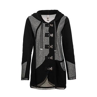 Jacke mit Schnapp-Verschluss, schwarz-grau