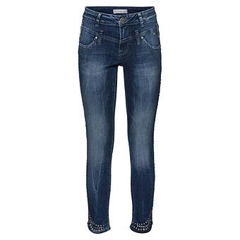 Sweat-Jeans mit abgerundetem Saum 70cm, dark blue crashed