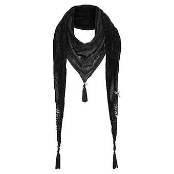 Schal mit Spitze, schwarz