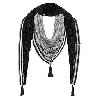 Kuschel-Schal mit Front-Design, schwarz
