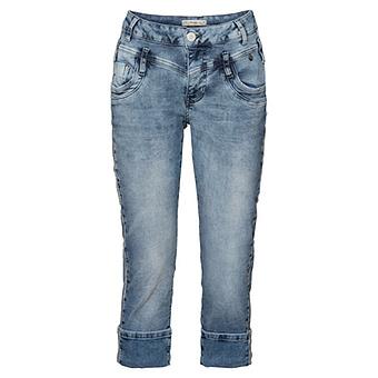 Sweat-Jeans mit Galon-Streifen, light blue crashed