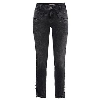 Sweat-Jeans mit Glitzersteinchen 72cm, dark grey