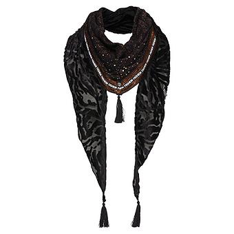 Schal im Animal-Design, schwarz