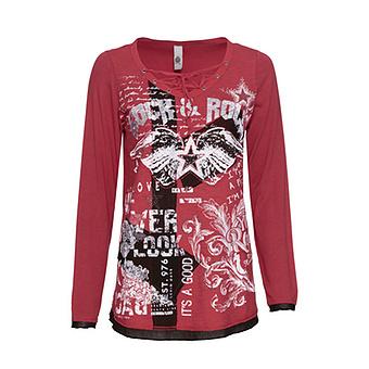 Shirt mit Kreuzschnürung, cranberry