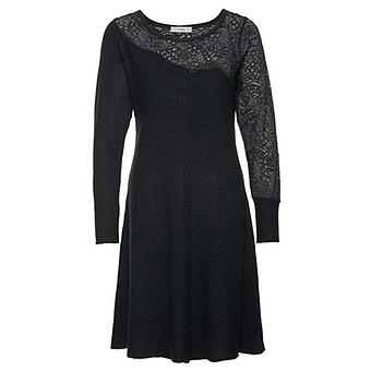Strick-Kleid mit Spitze, schwarz