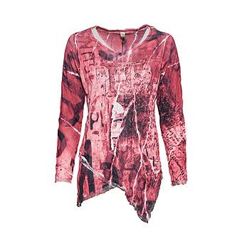 Crash-Shirt im Alloverprint, cranberry
