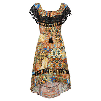 Viskose-Kleid im Ibiza-Style, bunt