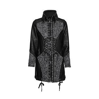Jacke mit Kreuzschnürung, schwarz-grau