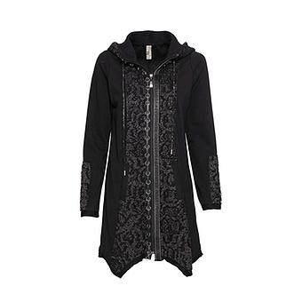 Sweat-Jacke mit Ösen, schwarz