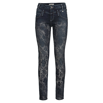 Sweat-Jeans im Floral-Design 78cm, dark blue