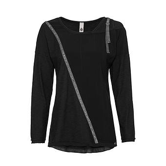 Shirt mit Nieten, schwarz