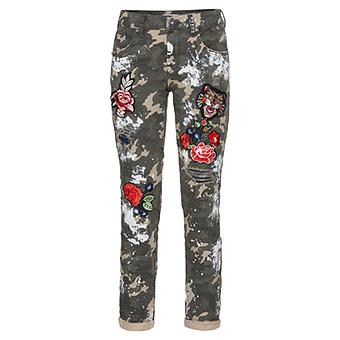 Hose mit Blumen Patches 72cm, khaki