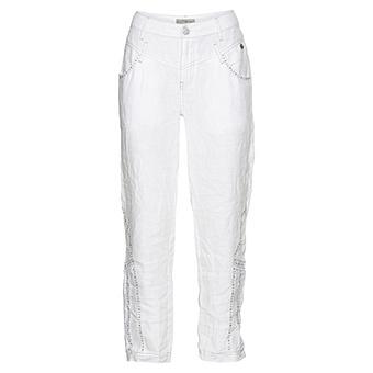 Leinen-Hose mit Schmucksteinen 66cm, weiß