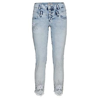 Sweat-Jeans mit Blüten 64cm, bleached denim