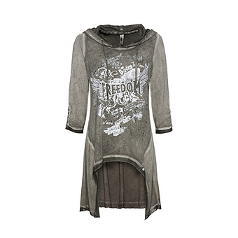 Shirt im Vokuhila-Schnitt, khaki