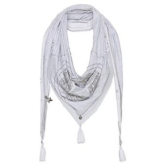 Schal mit Stern, grau-weiß