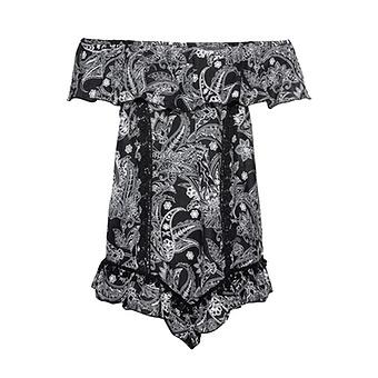 Viskose-Bluse im Alloverprint, schwarz