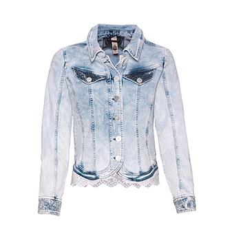 Jeansjacke mit Loch-Spitze, bleached denim