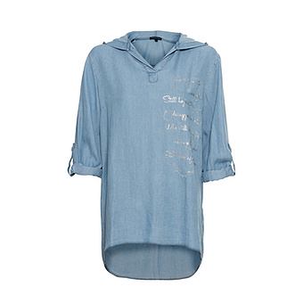 Bluse mit Glitzersteinchen, light blue