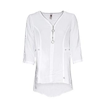 Viskose-Bluse mit Ärmelschlitz, weiß