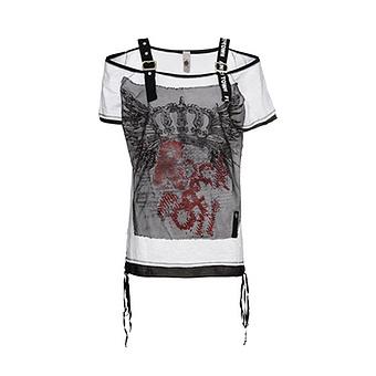 Top mit Front-Design, schwarz-weiß