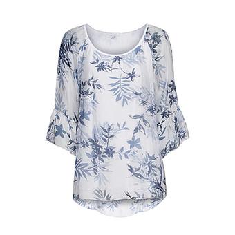 Bluse mit Seide, weiß-blau