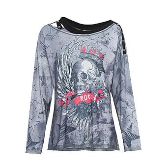 Shirt mit Glitzersteinchen, grau