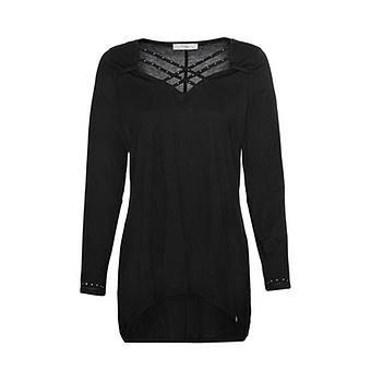 Shirt mit Kreuzschnürung, schwarz