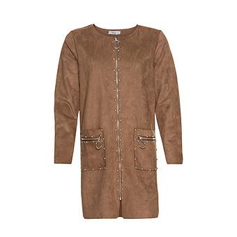 Mantel aus Veggie-Leder in Suede-Optik, camel