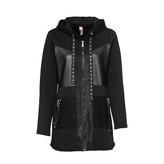 Sweat-Jacke mit Veggie-Leder-Optik, schwarz