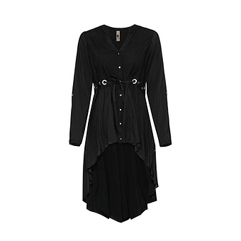 Bluse im Vokuhila-Look, schwarz
