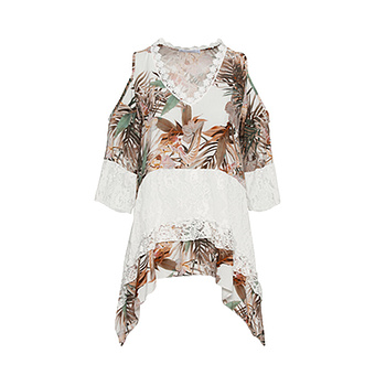 Bluse im Alloverprint, offwhite