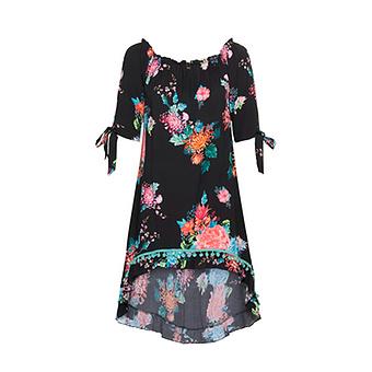 Tunika im floralem Print, schwarz