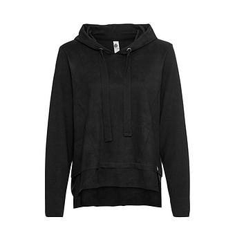 Pullover in Veggie-Leder in Suede-Optik, schwarz