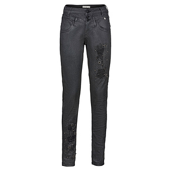 Sweat-Jeans mit Schimmer 78cm, schwarz