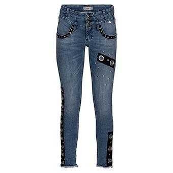 Sweat-Jeans mit Ösen 68cm, blue denim