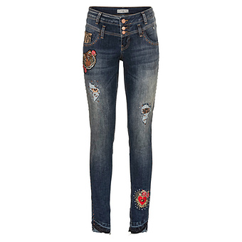 Jeans mit Patches 80cm, dark blue