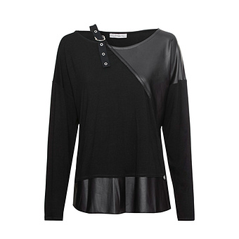 Shirt mit Veggie-Leder-Optik-Detail, schwarz