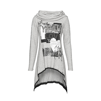 Strickpullover mit Front-Design, hellgrau-melange