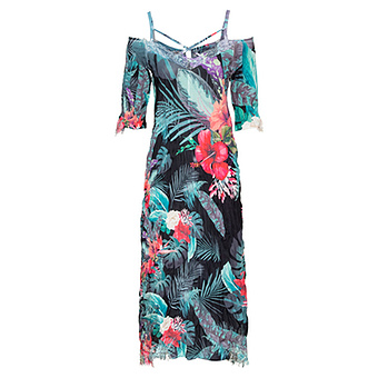 Maxi-Kleid im Floral-Print, schwarz