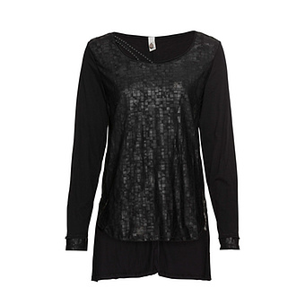 Shirt mit Glanzeffekt, schwarz