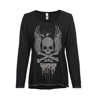 Shirt mit Glitzersteinen, schwarz