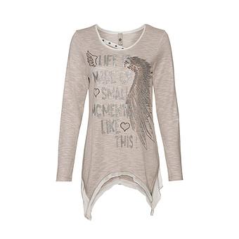Shirt mit Herz-Flügel-Print, sand-melange