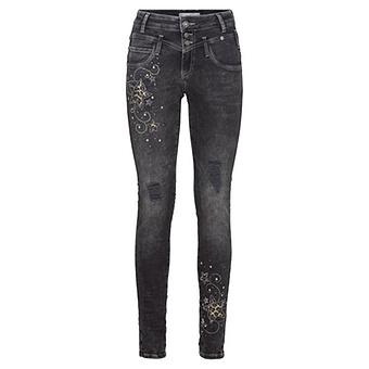 Jeans mit animal-Optik 78cm, dark grey