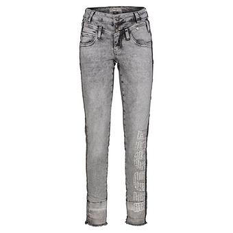 Sweat-Jeans mit Glitzersteinchen, light grey denim