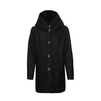 Mantel in Walk-Woll-Optik, schwarz