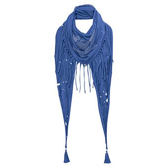 Schal mit Fransen 'Rock', blue glow