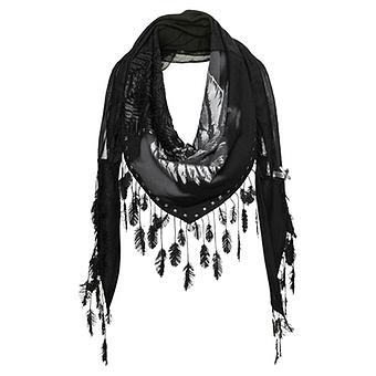 Schal mit Blätter-Fransen, schwarz