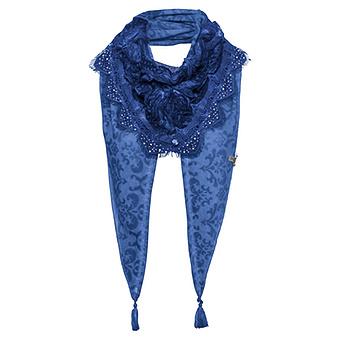 Schal mit Tüll - Spitze, blue glow